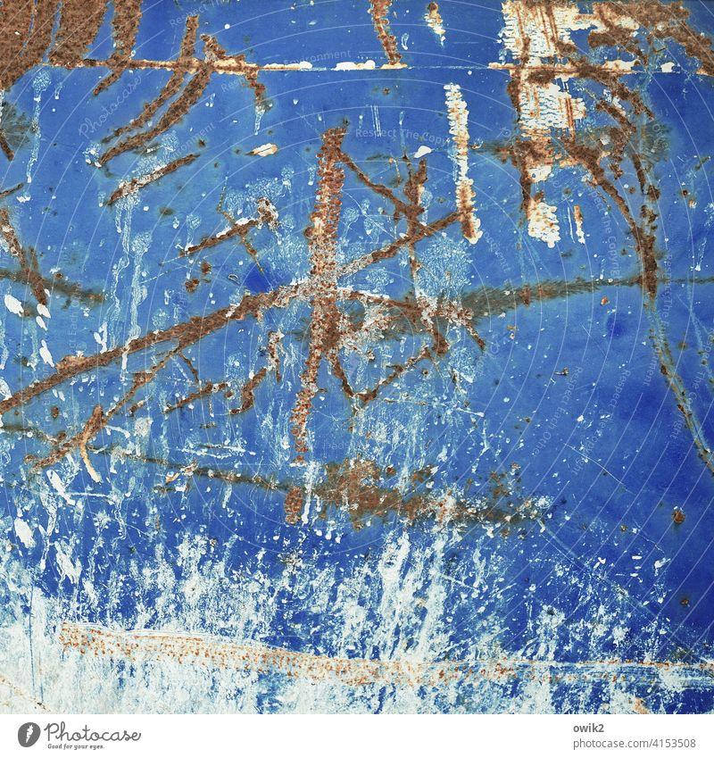 Blue Metal Container blau Kratzer Gewalt dreckig trashig Rost Menschenleer Außenaufnahme Metall Farbfoto Tag Strukturen & Formen Detailaufnahme abstrakt