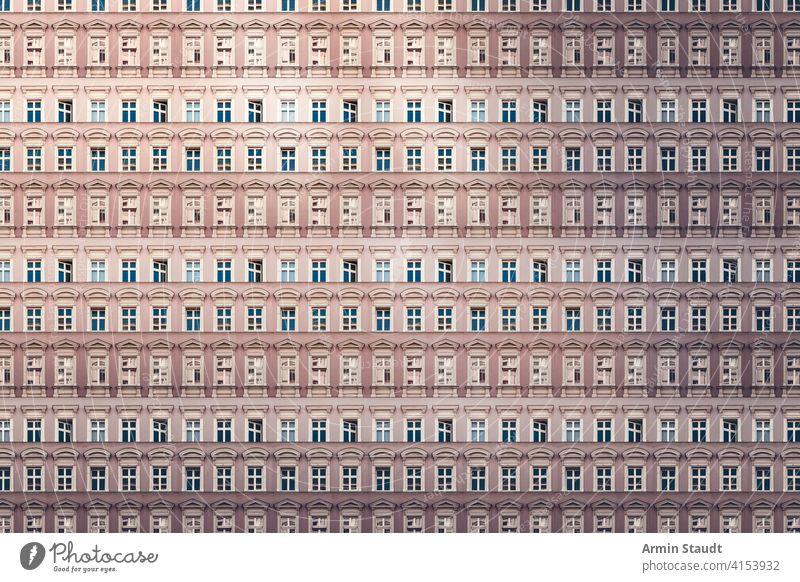 Architekturmuster, Fenster mit Stuck eines alten Berliner Hauses Anonymität anonym Appartement Hintergrund groß Klotz Gebäude Großstadt Konstruktion