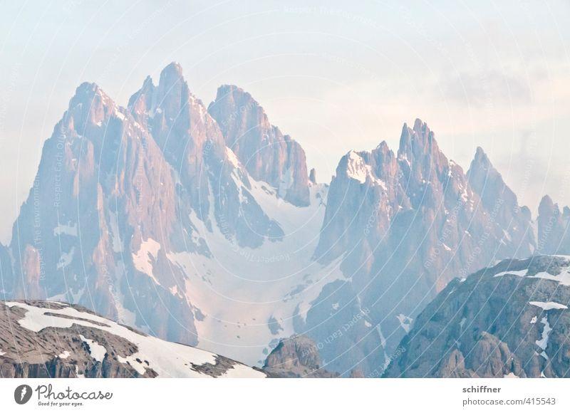 Auf Zack(e) Umwelt Natur Landschaft Himmel Wolken Schönes Wetter Felsen Alpen Berge u. Gebirge Gipfel Schneebedeckte Gipfel Gletscher rosa Höhenangst