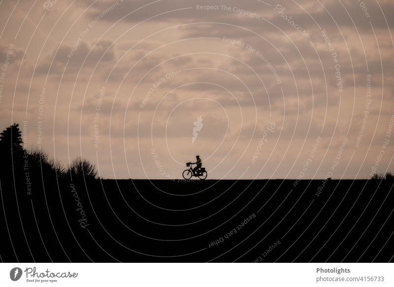 Schatten eines Fahrradfahrers in abendlicher Stimmung Silhouette Damm Abendstimmung Fahrradfahren Außenaufnahme Straße Weg Freizeit & Hobby Verkehr Sport Mensch