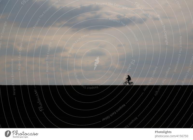 Schatten eines Fahrradfahrers Silhouette Damm Abendstimmung Fahrradfahren Außenaufnahme Straße Weg Freizeit & Hobby Verkehr Sport Mensch Bewegung Wege & Pfade