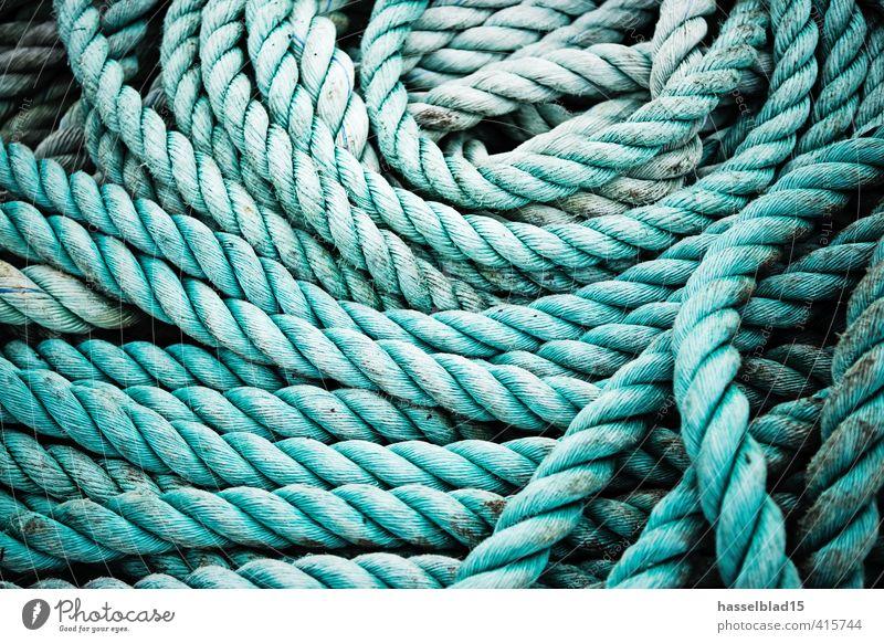 Tau Ferien & Urlaub & Reisen grün liegen wild Seil viele stark lang Sommerurlaub Segeln dick durcheinander Wassersport Knoten Haufen verdreht