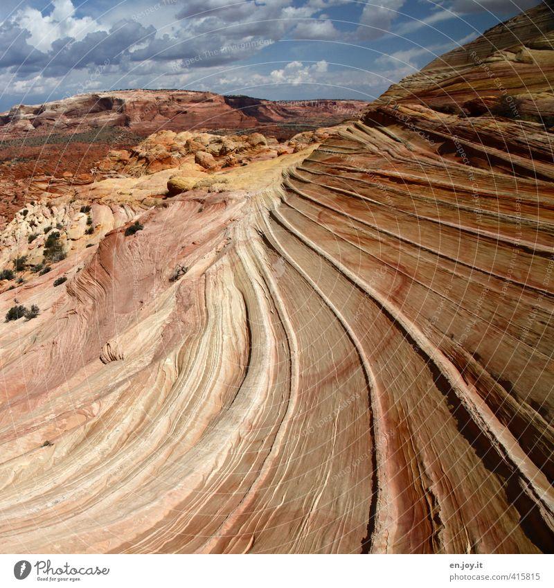 nicht von dieser Welt Umwelt Natur Landschaft Himmel Wolken Klima Felsen Berge u. Gebirge Wüste außergewöhnlich fantastisch gigantisch gelb orange Abenteuer