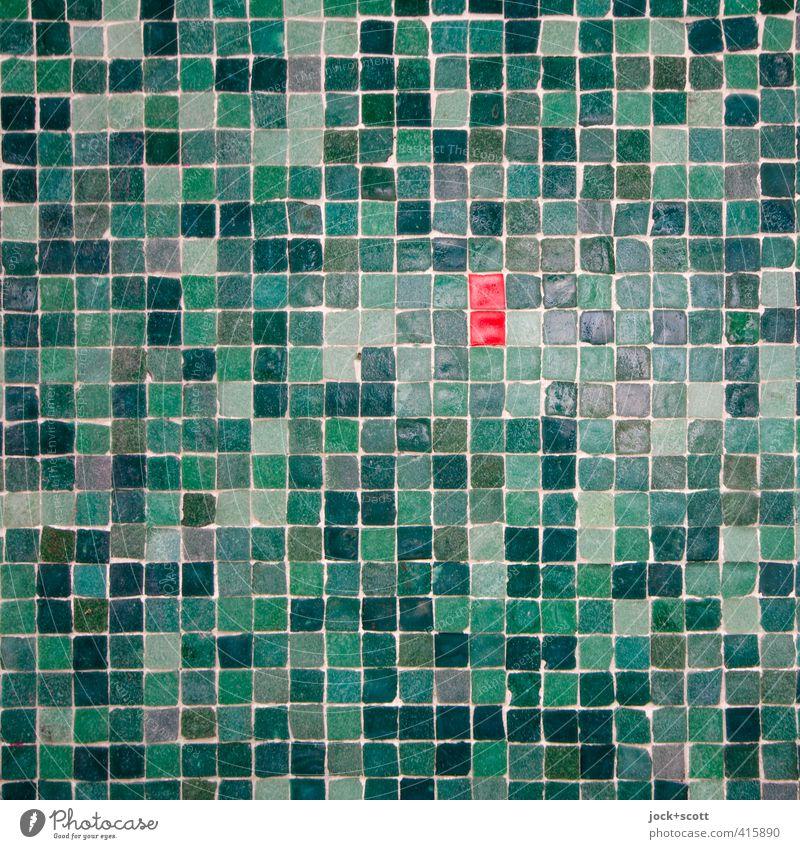 zwei rote treffen sich im Quadrat grün Wand Stil Mauer klein Stein Linie Dekoration & Verzierung Ordnung ästhetisch viele Zusammenhalt Kontakt
