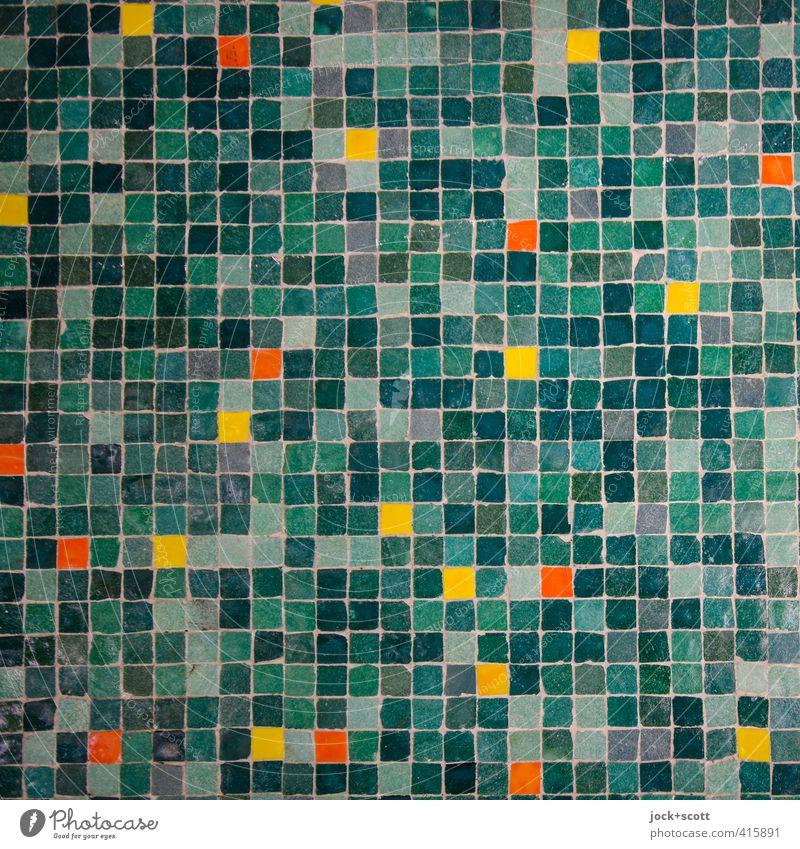 viele vielfältige im Quadrat Subkultur Kunsthandwerk Mauer Wand Dekoration & Verzierung Sammlung Stein Ornament Linie Netzwerk ästhetisch eckig elegant fest
