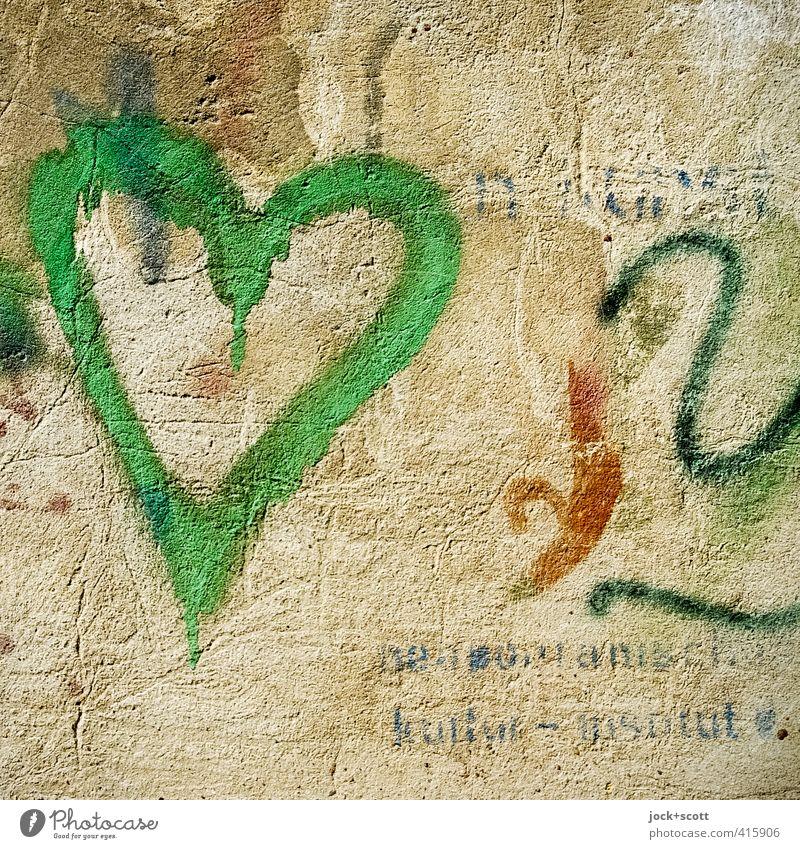 Grünes Herz Subkultur Straßenkunst Mauer Wand Schriftzeichen Graffiti einfach fest schön nah Wärme grün Stimmung Verliebtheit Romantik authentisch bescheiden