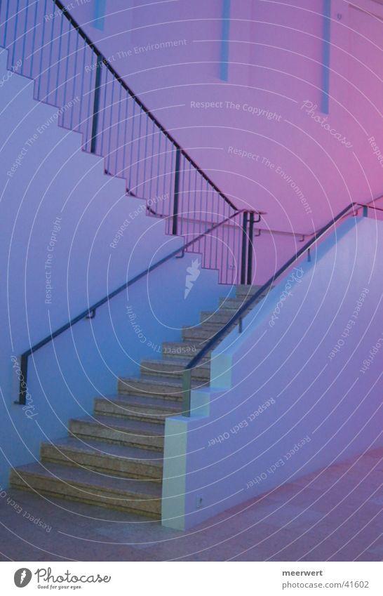 treppe ins lila ruhig Haus Stimmung Architektur Treppe violett Lichtspiel