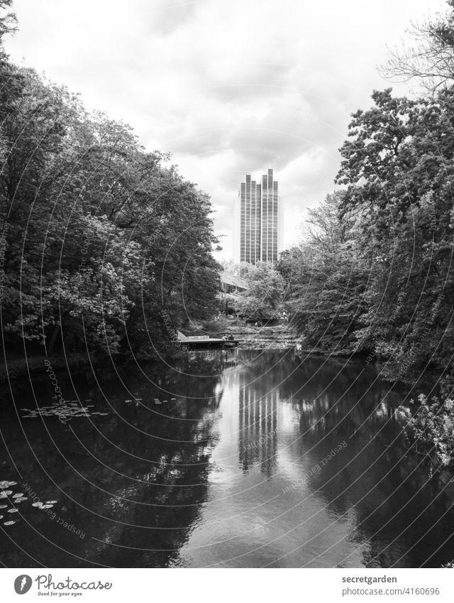 Ich sehe doppelt Hamburg Park Außenaufnahme Bäume Spiegelung im Wasser Architektur Hochhaus See Teich Lichtung Wolken Reflexion & Spiegelung Himmel Natur ruhig