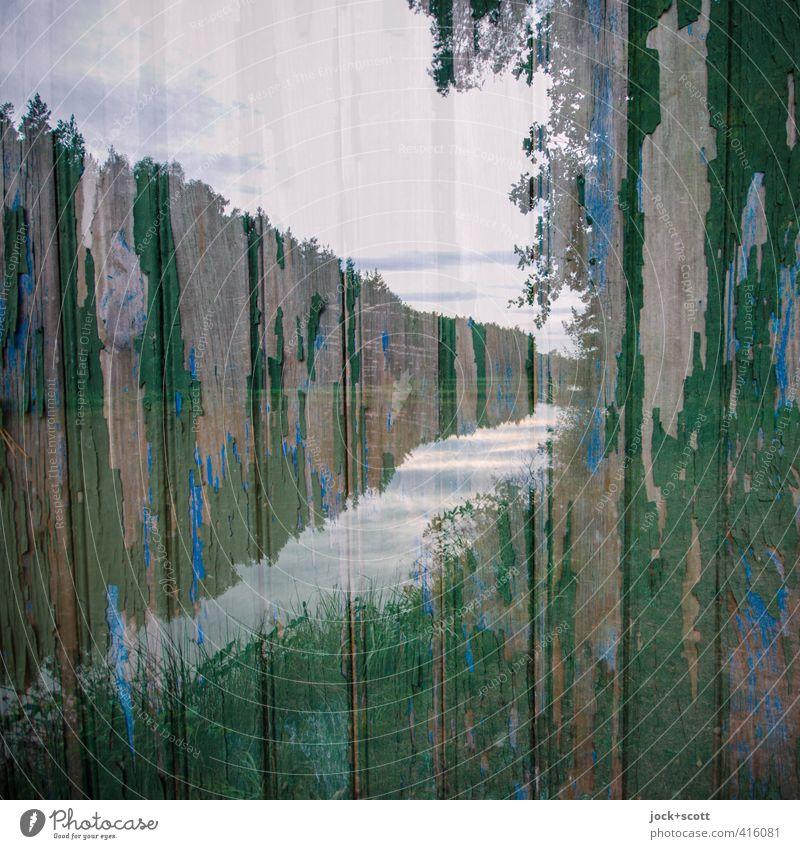 Franke, doppelt mit Holz gemoppelt Landschaft Himmel Wolken Wald Mittelfranken Horizont Irritation Holzbrett verwittert Doppelbelichtung Zahn der Zeit Illusion