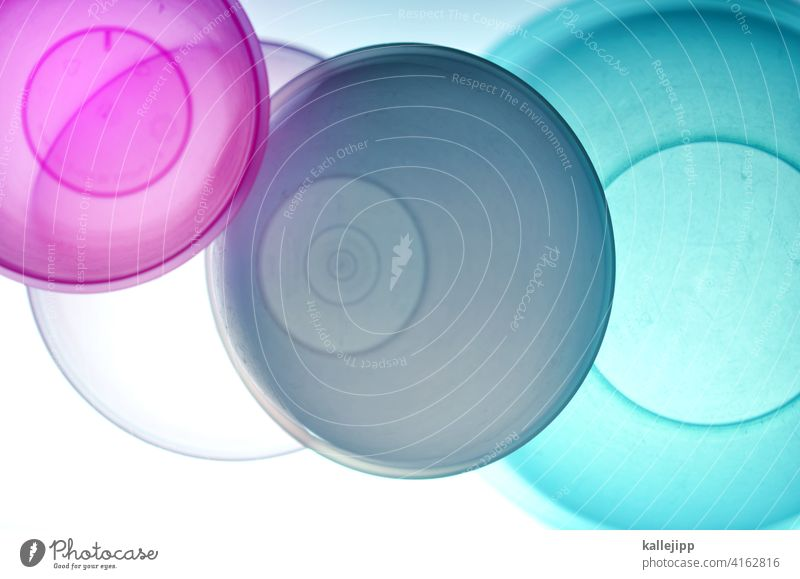 tupper Tupperware Schüssel abstrakt Kreise schnittmenge transparent Farbfoto Muster Licht mehrfarbig Experiment Strukturen & Formen Design orange Farbe