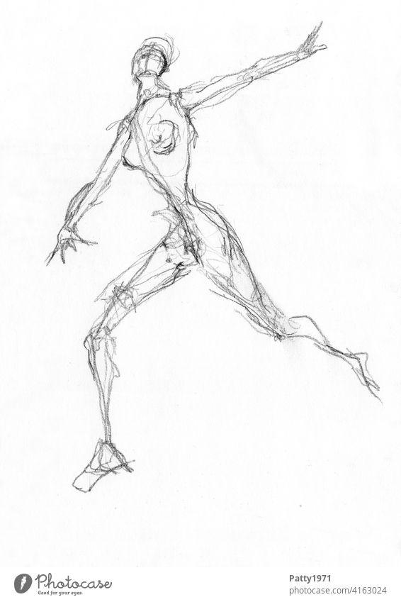 Abstrakte Bleistiftzeichnung einer nackten, rennenden Frau Skizze Akt dramatisch Flucht Frauenkörper Weiblicher Akt feminin Brust Zeichnung Scribble Ausdruck