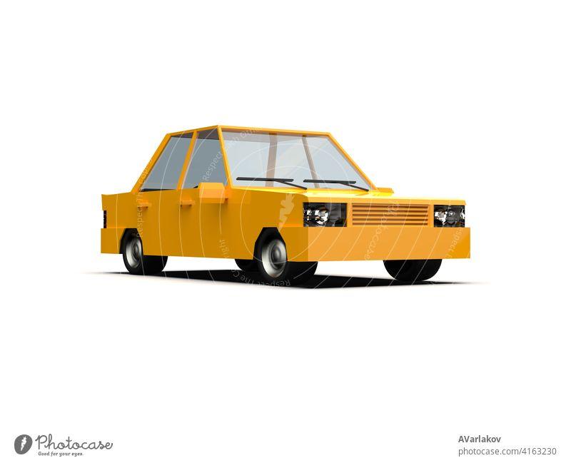 Low Poly Gelb Auto Limousine isoliert auf weißem Hintergrund Großstadt urban Motor Fahrer Infografik Tür Fenster Kapuze Karikatur modern Familie Vorlage
