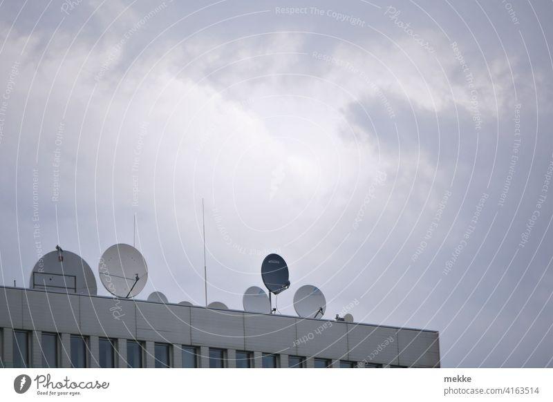 Satellitenschüsseln schmücken die moderne Dachterasse Satellitenantenne Haus Antenne Stadt Fassade Himmel Gebäude Wolken Funk Fernsehen Telekommunikation