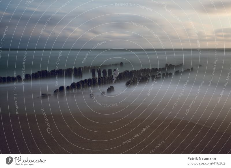 Foggy spur dike Umwelt Landschaft Himmel Wolken Sonnenaufgang Sonnenuntergang Schönes Wetter Wellen Küste Strand Nordsee Meer Insel Sylt ästhetisch Bewegung