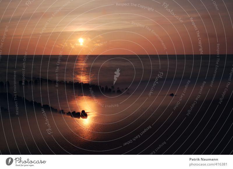 Buhnenromantik Umwelt Landschaft Himmel Wolken Horizont Sonne Schönes Wetter Wind Wärme Wellen Küste Strand Nordsee Meer Insel Sylt Landkreis Friesland