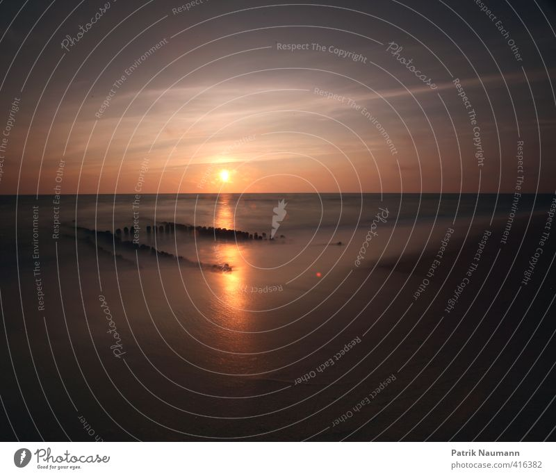 Die große Buhne Umwelt Natur Landschaft Wasser Himmel Wolken Sonnenaufgang Sonnenuntergang Sonnenlicht Schönes Wetter Wind Wärme Wellen Küste Strand Nordsee