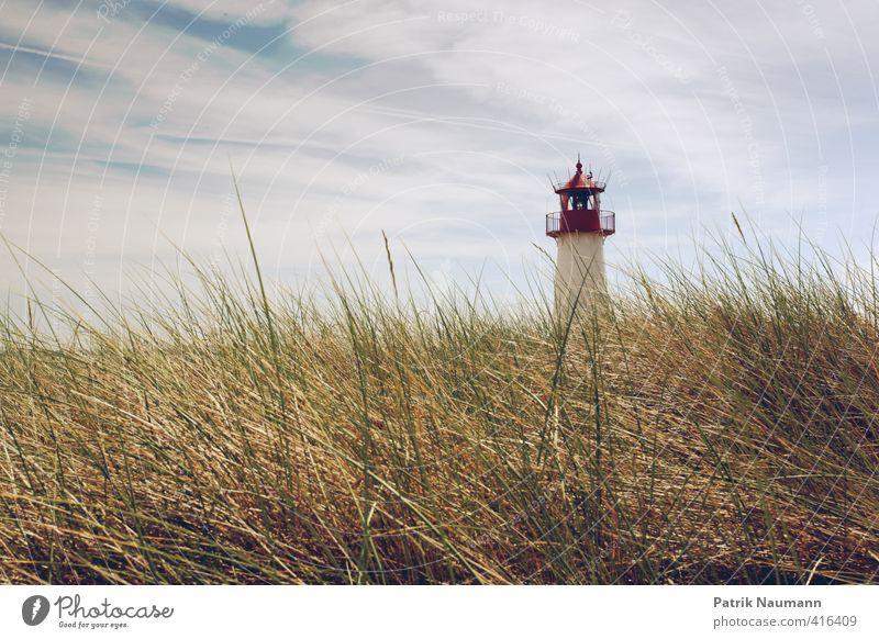 Leuchtturm im Ellenbogen Himmel Natur Ferien & Urlaub & Reisen Pflanze Landschaft Wolken Gras Gebäude Freiheit Kraft Wind Zufriedenheit Häusliches Leben Insel