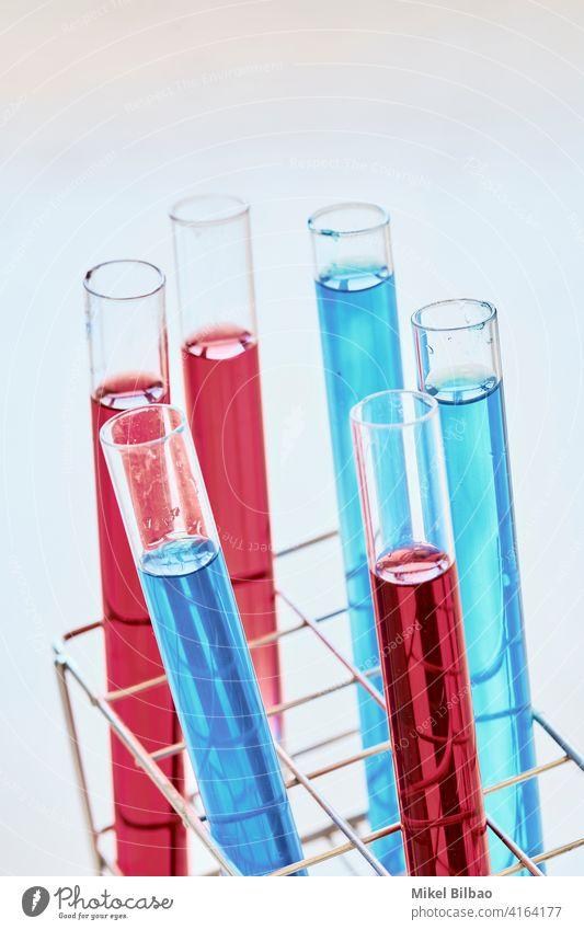Reagenzgläser mit Farbstoffflüssigkeit in einem Labor. Wissenschaftliches Konzept. forschen wissenschaftlich wissenschaftliche Forschung Kontrolle Prüfung