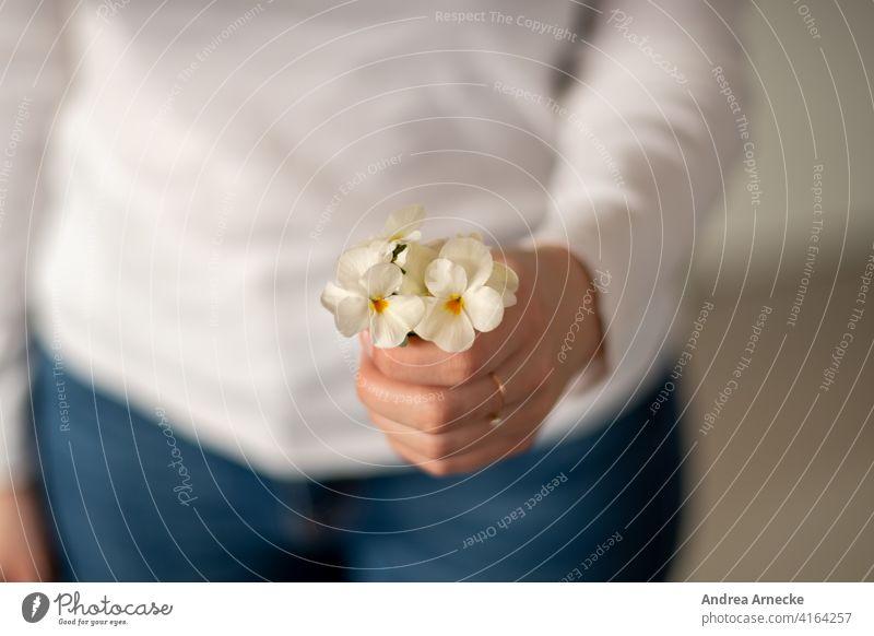 Frau hält einen Strauß Stiefmütterchen in der Hand Blumen Ring Jeans weißes Shirt feminin Blumenstrauß überreichen weiblich für dich Geschenk Geburtstag