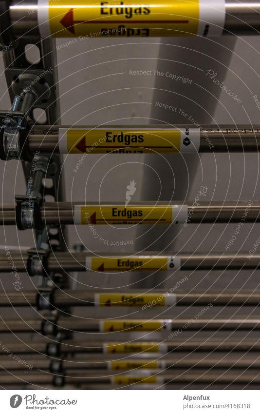 Installation VIII | Erdgas Erdgas Erdgas Erdgas ............ Rohre installation Industrie Menschenleer Industrieanlage Haus Keller Heizung Heizungstechnik