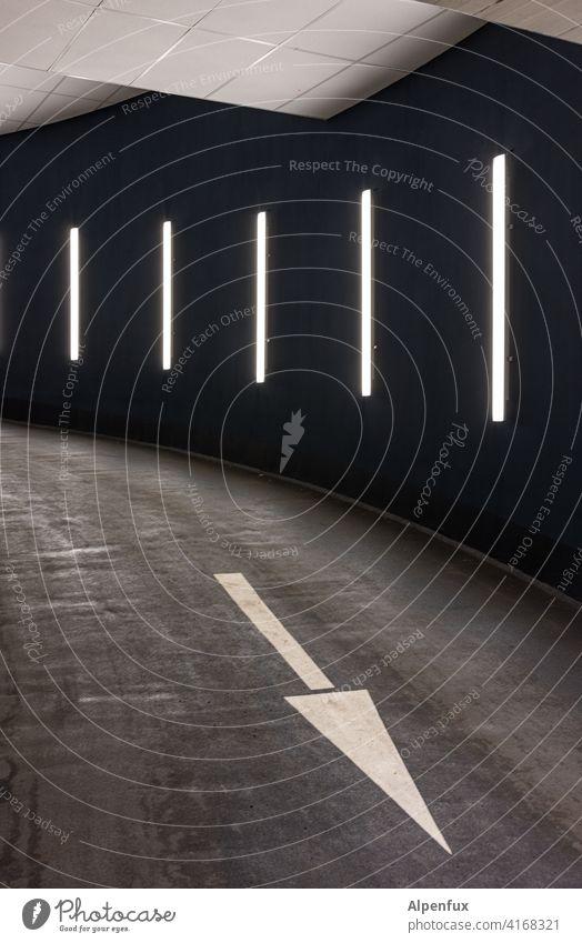 einen Ausweg gibt es immer Pfeil richtungsweisend Tiefgarage Richtung Schilder & Markierungen Straße Wegweiser Zeichen Orientierung abwärts abwärtstrend