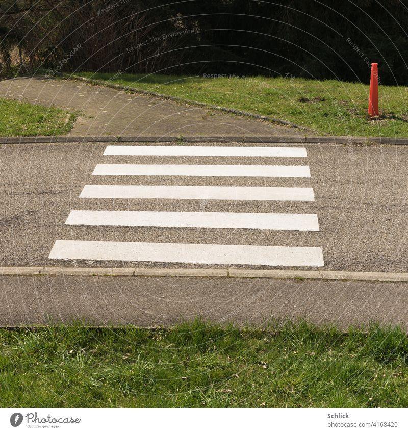 Fußgängerübergang und roter Pylon Fußgängerüberweg achtung Verkehr niemand menschenleer Asphalt Straße Gras Fußgängerweg Bordsteine Schrägaufnahme Zebrastreifen