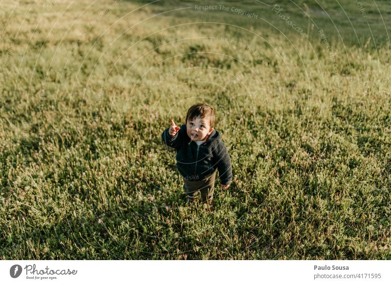 Nettes Kind zeigen auf den Himmel Kindheit 1-3 Jahre Kaukasier Junge Punkt Mensch Kleinkind Farbfoto Freude Spielen Tag Fröhlichkeit Lifestyle authentisch