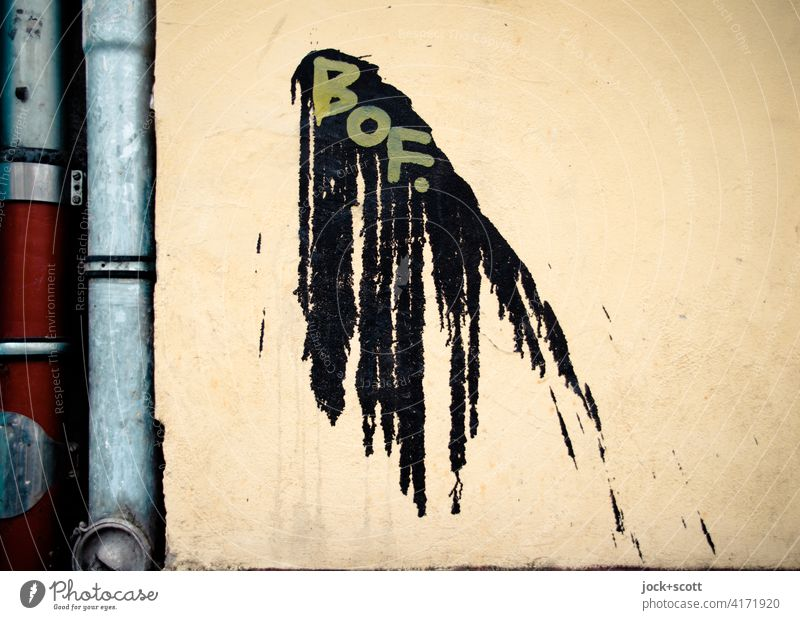 Flatsch und BOF. Kreativität Schmiererei Fleck Farbfleck Farbverlauf abstrakt Subkultur Silhouette Strukturen & Formen Wand Straßenkunst Graffiti flatsch