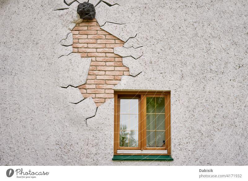Hausfassade mit Fenster Fassade Gebäude Architektur Außenseite heimwärts Wand alt Hintergrund Design urban Vorderseite traditionell schließen Textur klassisch
