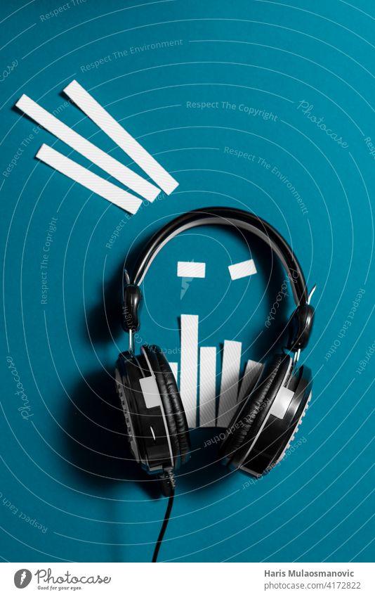 schwarz und weiß moderne Kopfhörer futuristische kreative Audio-Konzept Publikum Audiospektrum Hintergrund Ausstrahlung Business klassisch Mitteilung Design