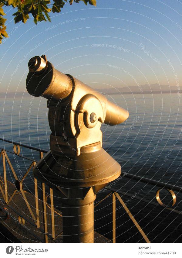 Gute Aussichten Teleskop Abendsonne Sonnenuntergang Stimmung Freizeit & Hobby Wasser Bodensee Küste Metall Traurigkeit