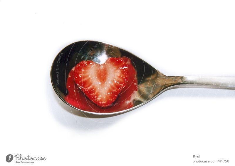 erdbeerherz Liebe Herz Erdbeeren Löffel Besteck