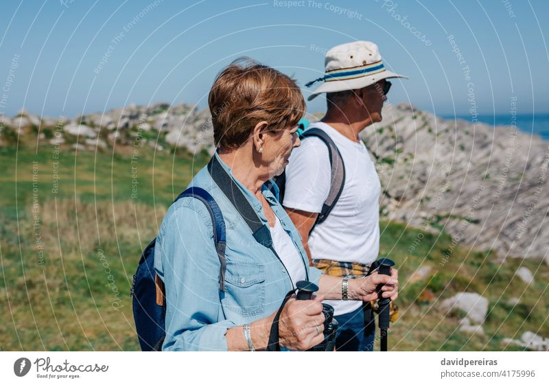 Älteres Ehepaar übt Trekking im Freien Senior Paar Wanderer Berge u. Gebirge Blick Landschaft Feld Natur alt Trekkingstöcke Nordic Walking wandern Taille hoch