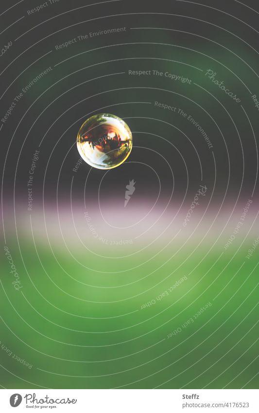 Luftblase Seifenblase sphärisch Sphäre leicht schweben schwebend schwebende Seifenblase Leichtigkeit Spiegelung schwerelos Schwerelosigkeit Momentaufnahme