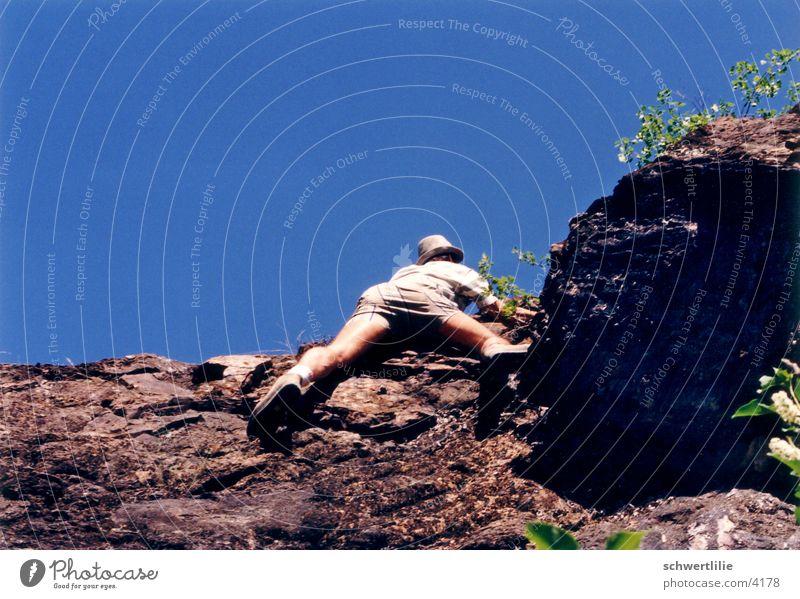 rauf oder runter Bergsteiger Mensch Klettern Berge u. Gebirge Felsen