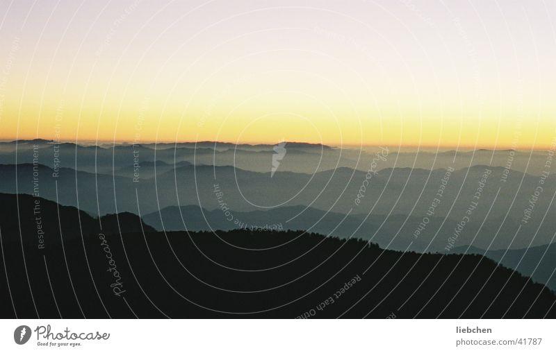Himmelmalaya Nepal Sonnenuntergang Nebel Berge u. Gebirge Himalaya Abend
