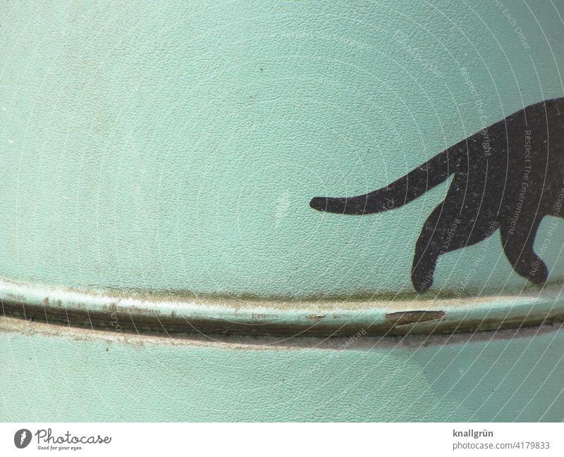 Schwarze Katze die verschwindet Graffiti balancieren Außenaufnahme Farbfoto Kunst Straßenkunst Fassade Wand Mauer Menschenleer Subkultur Jugendkultur