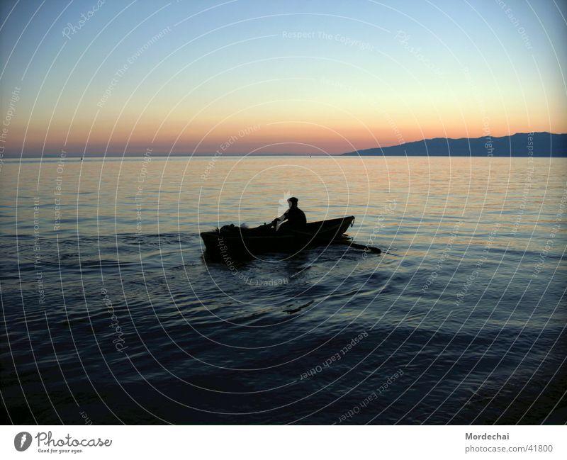 Baikal See Sonnenuntergang Romantik Wasserfahrzeug Ruderboot Ruderer Abend Russland Baikalsee