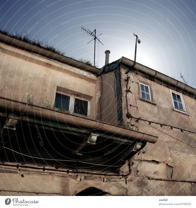 Ground Control to Major Tom alt Stadt Sonne Haus Fenster Wand Gras Mauer oben Fassade Klima hoch Schönes Wetter trist Vergänglichkeit Wandel & Veränderung
