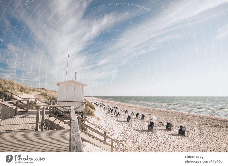 beach chair offer Landschaft Sand Wasser Himmel Wolken Horizont Sonnenlicht Sommer Schönes Wetter Wellen Küste Strand Nordsee Meer Gefühle Zufriedenheit ruhig