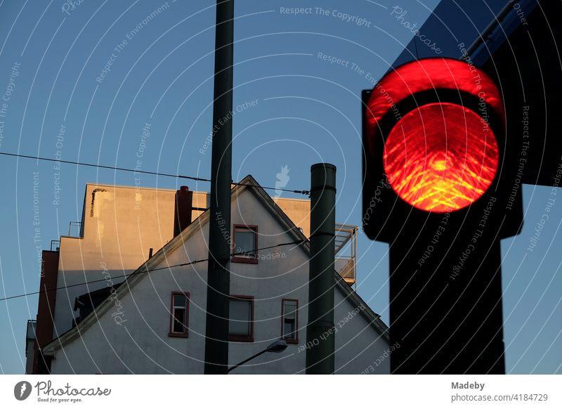 Rote Ampel zur Blauen Stunde mit blauem Himmel und Abendsonne an der Hanauer Landstraße im Ostend von Frankfurt am Main in Hessen Ampelöanlage Verkehrsampel