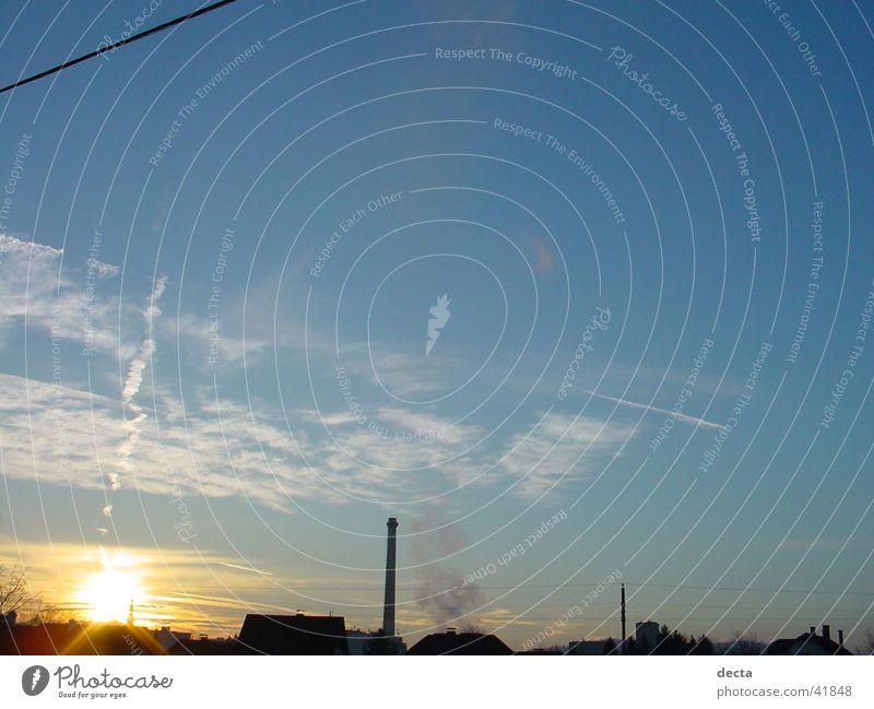 industrial sonneuntergang Sonne Nebel Industriefotografie