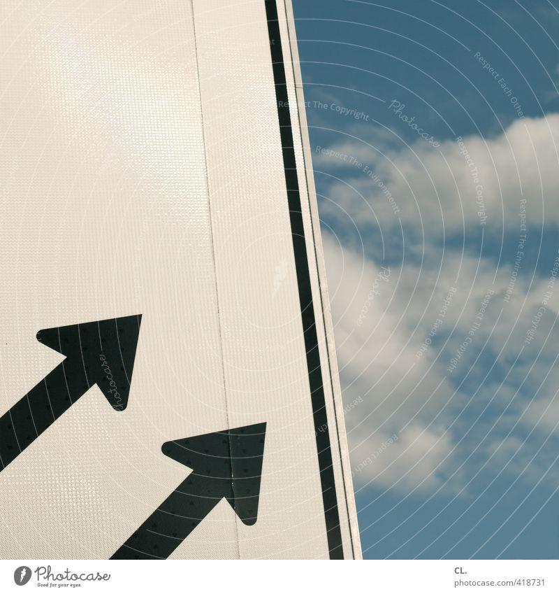 himmelsrichtung Himmel Natur Himmel (Jenseits) Wolken Umwelt Freiheit oben Linie Wetter Klima Verkehr Erfolg Schilder & Markierungen Schönes Wetter Perspektive