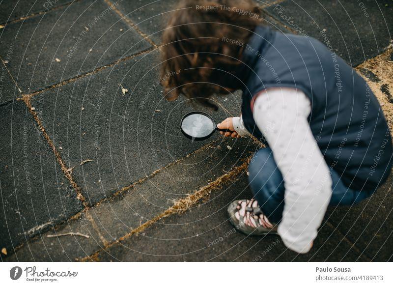 Kind erforscht mit Lupe erkunden Mädchen 1-3 Jahre Kaukasier Ameise Glück Neugier Lifestyle Außenaufnahme Mensch Natur Freude Spielen Farbfoto Kindheit