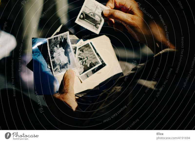 Seniorin betrachtet alte Fotos. Erinnerungen. betrachten Frau Rentnerin Vergangenheit Erinnerungsstücke Oma Familienfotos Großmutter erinnern Nostalgie reif
