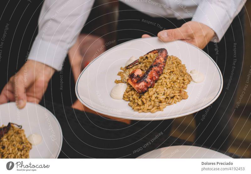 Ein köstlicher Gourmet-Teller Reis mit Oktopus-Tentakel in einem maritimen europäischen Luxusrestaurant Octopus Lebensmittel Paella Küche Speise gekocht