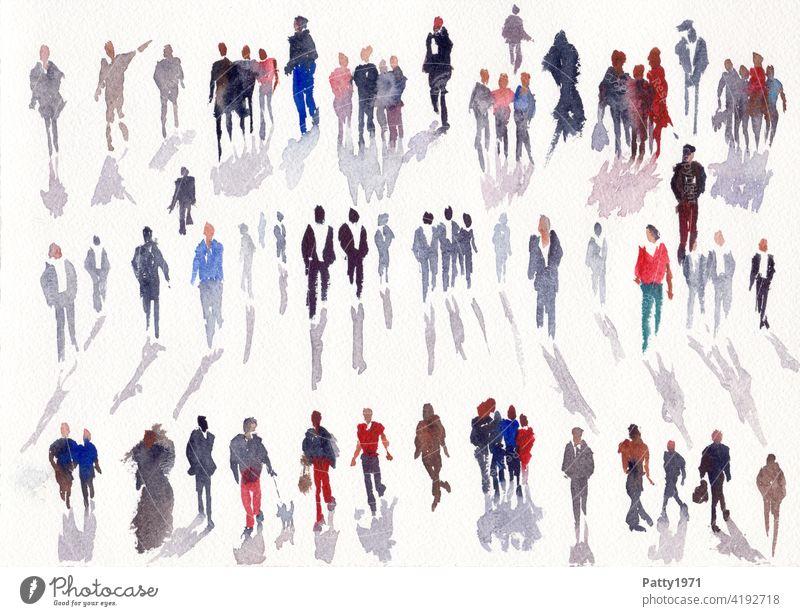 Abstrakte menschliche Silhouetten mit Schlagschatten in Aquarell gemalt Leute Gruppe Wasserfarbe viele Kunst Freizeit & Hobby Kreativität malen Farbe abstrakt