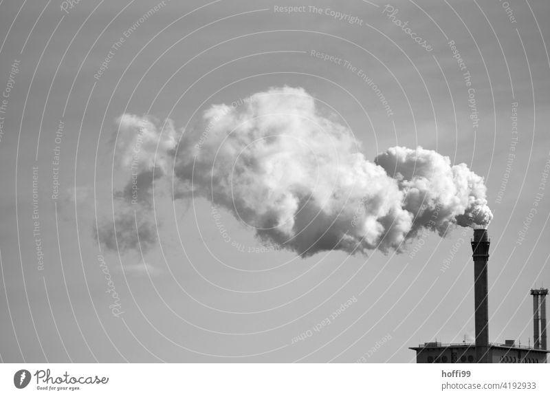 Schornstein einer Industrieanlage mit Emmission Emission Abgas Wasserdampf Kohlekraftwerk Energiewirtschaft Umweltverschmutzung Krankheit gigantisch trist