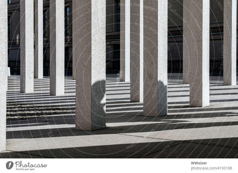Die Schatten auf der Museumsinsel erzählen ihre eigenen Geschichten Säulen Linien Architektur Bauwerk Gebäude historisch Tourismus leer Menschen Außenaufnahme