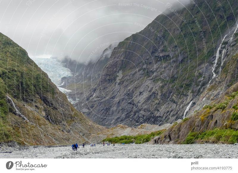 Franz-Josef-Gletscher Neuseeland Südinsel Eis Südalpen Berge u. Gebirge alpin Bergkette Waiho-Fluss Tal Berghang bewachsen Natur natürlich Landschaft Tourismus
